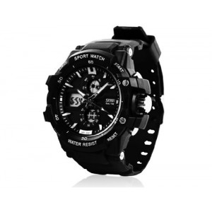 Skmei 0990 3ATM Water Resistant Digital & Analog Sports Watch with Soft Plastic Strap (Black + White)