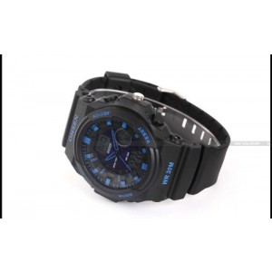 OHSEN LCD Dual Core Mens Sport Date Day Stopwatch Blue Dial Rubber Wrist Watch