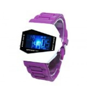 Generic Plane Style Digital Display LED Elegant Silicone Wrist Watch (Purple)