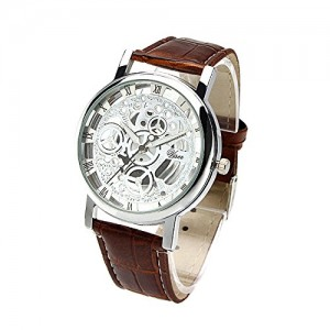 OYang Non Mechanical Hollow Roman Numerals Leather Band Wrist Watch White Dial Watch Brown
