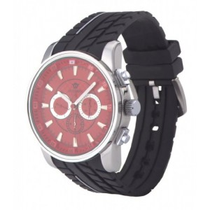 Ouyawei Men's Sport Rubber Strap Red Dial Mechanical Watches