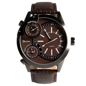 Oulm Ori-0459 Male Quartz Wrist Watch with Three Dial and Brown Leather Band