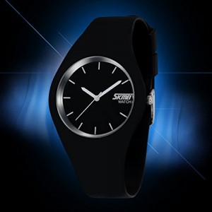 Skmei Casual Simple Style Silicone Strap Unisex Wrist watch White Pointer