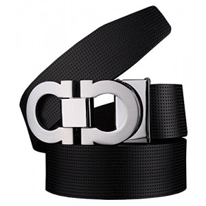 Men`s Smooth Leather Buckle Belt 35mm Sliver Buckle and Black Leather Size:32inch