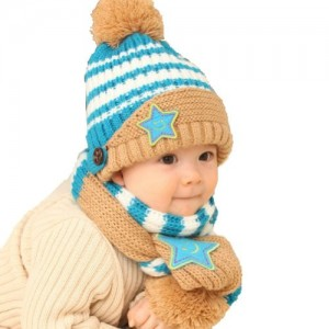 Baby Winter Warm Stripe Knit Wool Hat With Scarf Set