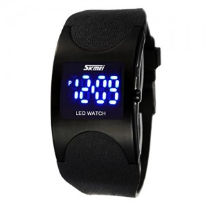 SKMEI Boys and Girls Water Resistant LED Digital Display Alloy Case Arced Dial Sport Wrist Watch - Black