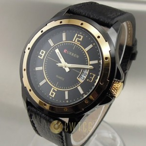 CURREN Fashion Quartz Wrist Watch with Calendar Round Dial - Black(mainly) + Golden Dial - BY champper