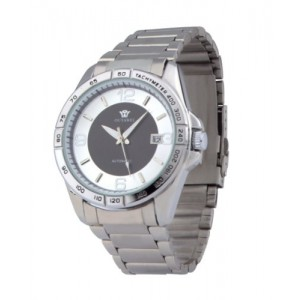 Ouyawei Men's Round White Ring And Black Dial Stainless Steal Strap Mechanical Watches