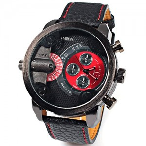 Wmicro Cool Men's Japan Quartz Movement Stainless Steel Round Dial With Black PU Leather Band Wristwatch + Gift Box (Ship From US)