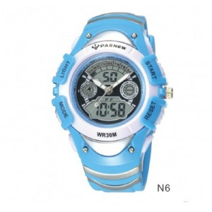 Pasnew Waterproof Dual Movement 6-11 Years Old Unisex Children Boys Girls Sport Watch N6 Baby Blue Color