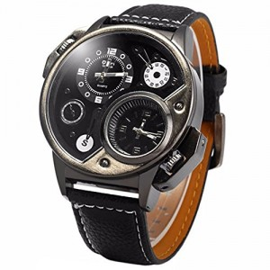 OYang Military Sport Quartz Watch Leather strap Round Dial Famous brand luxury Clock Men's Wristwatch (Black)