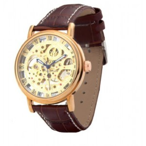 OYang Men's Business Rose Gold Dial Brown Leather Strap Mechanical Watches