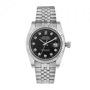 Sangdo Men's with Diamond Round Dark Blue Stainless Steel Automatic Mechanical Watches