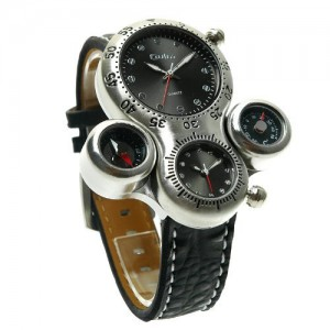 OYang Two Time Zone Display With Thermometer and Compass For Decoration Purpose Only Wrist Watch (Black)