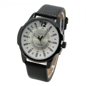 Curren 8123 Modern Business Men Watch with Big Round Leather Band(black and White)