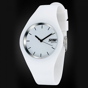 Skmei Casual Simple Style Silicone Strap Unisex Wristwatch Sports Watches - White
