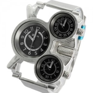 Oulm Analog Three Black Round Dials White Strap Men Watch