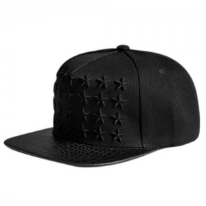 Star Embroidery PU Leather Crocodile Skin Pattern Snapback Cap FFH134RED