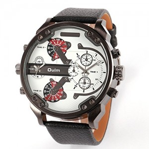 OYang2015 New Military 4 Time Zone Men's Quartz Wristwatch Fashion Unique Design Blue Leather Strap Japan Movement White
