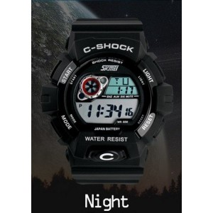 Skmei Cool Men's Watches , Outdoor Sports Waterproof Electronic Watches ,Students Backlight Watch Wholesale (Black)