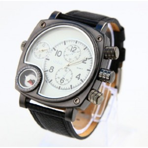 Oulm Luxury Round Dial Watch with Dual Quartz Movement/Compass/ White dial