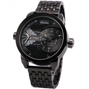 OYang Men's Quartz Wrist Watch Stainless-steel Metal Strap 2 Time Display Sub Dial Japan Imported Water resistant Black Face