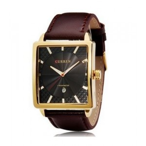 CURREN Calendar Gold Case Quartz Wrist Watch with Soft Leather Band For Business Mens Man Boys Gentlemen