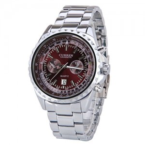 OYang Man's Cool Silver Stainless Steel Band Business Watch Water Resistant Chronometer Wristwatch Red Dial Design