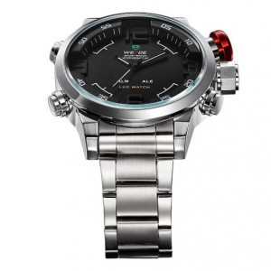 Weide Mens Black Dial Dual Time Display Stainless Steel Wrist Watch WH2309B