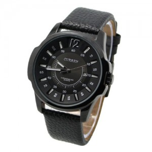 Curren 8123 Modern Business Men Watch with Big Round Leather Band(All Black)