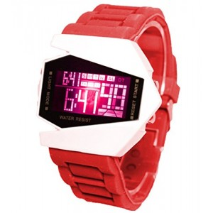 Generic Plane Style Digital Display LED Elegant Silicone Wrist Watch (Red)