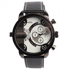 OYang Two Time Zone Display Quartz Movement Wrist Watch With Small Dials For Decoration Purpose Only (White)
