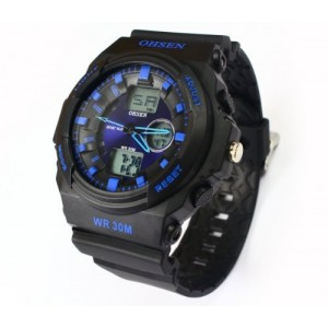 OHSEN Mens Black Silicone Rubber DATE DAY Multifunction Blue Dial Sport Watch #AD1216