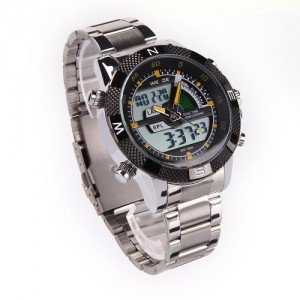 WEIDE Mens Digital Analog LCD Chronograph Date Day Army Sport Water Resistant Quartz Watch - Retail Package - Yellow