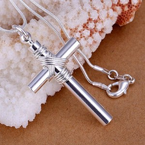 silver-coated pendant-cross with whistle pendant