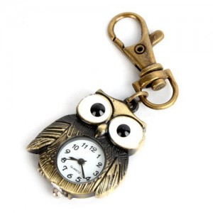 YESURPRISE Antique Bronze Tiny Owl Pocket Quartz Key Chain Ring Watch Pendant