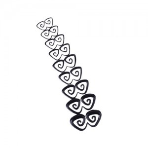 9 Pairs Acrylic Spiral Triangle Shape Taper Tunnel Ear Stretcher Expander Plugs Black