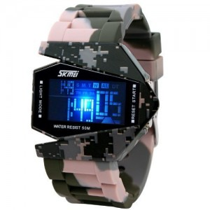 Military Stealth Fighter Cool 5ATM Water Resistant Dial LED Sports Wrist Watch
