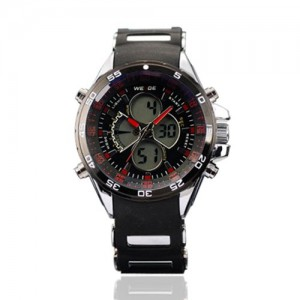 Weide Mens Digital-Analogue Red Digits Chronograph Rubber Band Quartz Watch W...