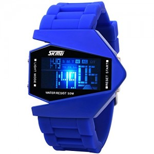 Military Cool LED Display Colorful Light Digital Sport Water-proof Stealth fighter Style Wrist Watches with Silicone Strap (Blue)