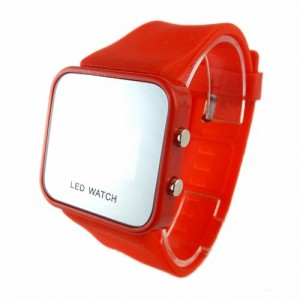Youyoupifa Colorful Exquisite Appearance Digital LED Mirror Watch with Soft Rubber Material (Red)