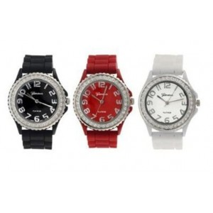 Geneva Platinum Silicone Band CZ Watch Set (Black