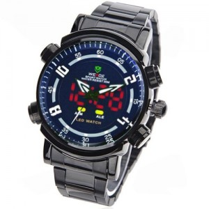 WEIDE Analog-digital White Hands & Numberial Indices, LED Display Dial Men Watch