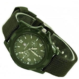 DAYAN Men`s Sports Watch Analog Watches Alloy dial Military Wristwatch Fabric Strap Green