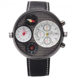 Oulm Men`s Large Watch. Dual Time Zones, Compass, Thermometer, Calender - Big 5cm Multi-Function Dial - Long 17-21cm Black Genuine Leather Strap (Round White)