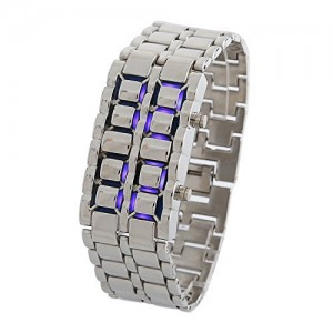 DAYAN Men`s Lava Black Stainless Steel Bracelet Watch Silver and Blue LED Digital Watch Water Resistant