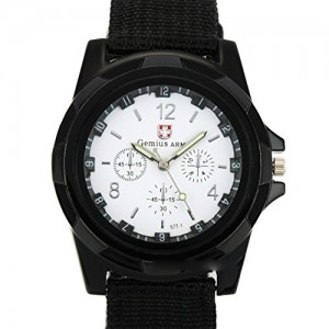 DAYAN Men`s Sports Watch Analog Watches Alloy dial Military Wristwatch Fabric Strap Black