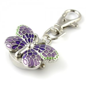 Youyoupifa Gorgeous Key Chain Ring With Butterfly Pendent Pocket Quartz Watch (Purple)