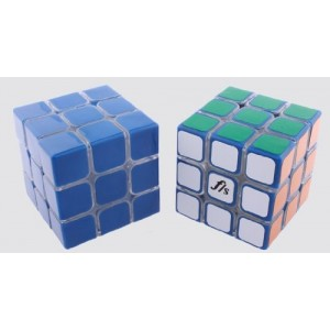 Fangshi (Funs) Shuang Ren 3x3x3 54.6mm Speed Cube Puzzle, Transparent Body With Blue Cap