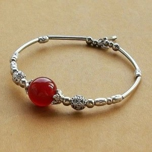 Folk Style Ornaments of Silver Retro Original Handmade Bracelet Agate Bracelet Natural Peace